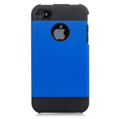 Microsonic Slim Fit Dual Layer Armor Iphone 4 & 4s Kılıf Mavi Cep Telefonu Kılıfı
