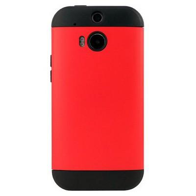 Microsonic Slim Fit Dual Layer Armor Htc One M8 Kılıf Kırmızı Cep Telefonu Kılıfı