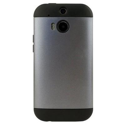 Microsonic Slim Fit Dual Layer Armor Htc One M8 Kılıf Gümüş Cep Telefonu Kılıfı