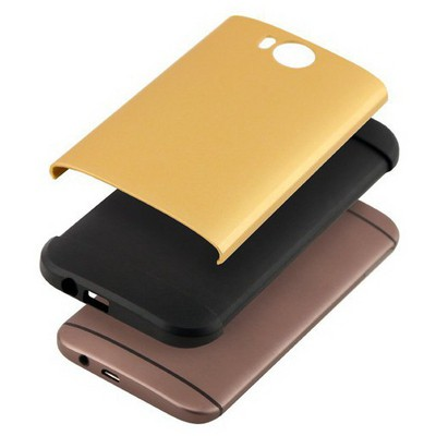 Microsonic Slim Fit Dual Layer Armor Htc One M8 Kılıf Sarı Cep Telefonu Kılıfı