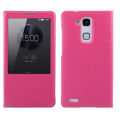 Microsonic View Slim Kapaklı Deri Huawei Ascend Mate 7 Kılıf Pembe Cep Telefonu Kılıfı