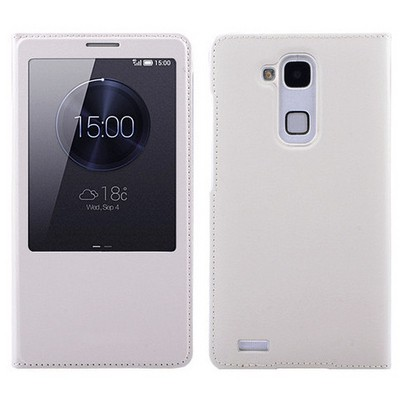 Microsonic View Slim Kapaklı Deri Huawei Ascend Mate 7 Kılıf Beyaz Cep Telefonu Kılıfı