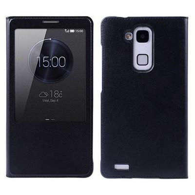 Microsonic View Slim Kapaklı Deri Huawei Ascend Mate 7 Kılıf Siyah Cep Telefonu Kılıfı
