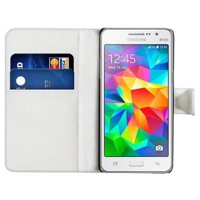 Microsonic Cüzdanlı Deri Samsung Galaxy Grand Prime Kılıf Beyaz Cep Telefonu Kılıfı