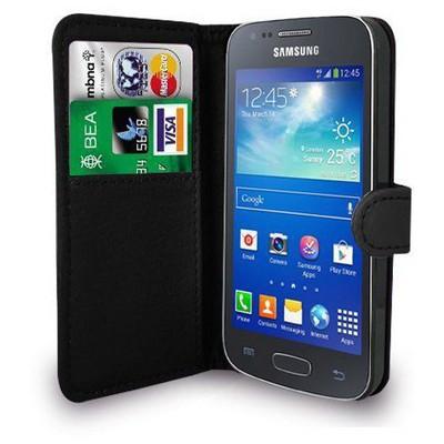 Microsonic Cüzdanlı Deri Samsung Galaxy Ace 4 Kılıf Siyah Cep Telefonu Kılıfı