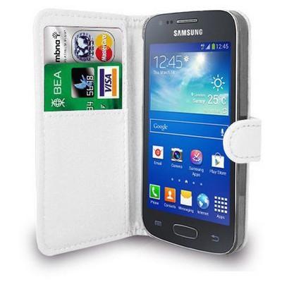 Microsonic Cüzdanlı Deri Samsung Galaxy Ace 4 Kılıf Beyaz Cep Telefonu Kılıfı