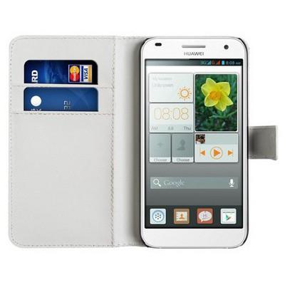 Microsonic Cüzdanlı Deri Huawei Ascend G7 Kılıf Beyaz Cep Telefonu Kılıfı