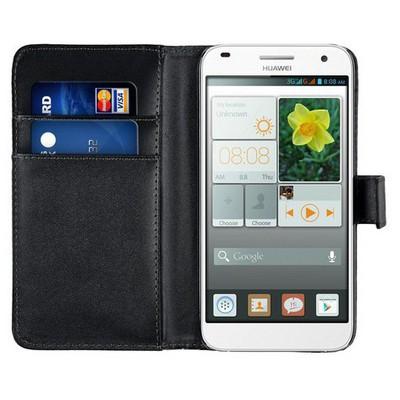 Microsonic Cüzdanlı Deri Huawei Ascend G7 Kılıf Siyah Cep Telefonu Kılıfı