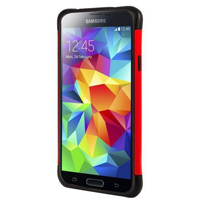 Microsonic Slim Fit Dual Layer Armor Samsung Galaxy S5 Kılıf Kırmızı Cep Telefonu Kılıfı