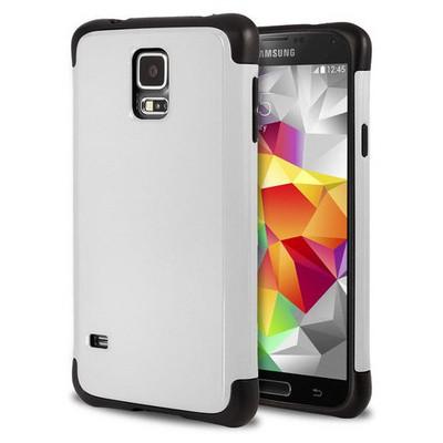 Microsonic Slim Fit Dual Layer Armor Samsung Galaxy S5 Kılıf Beyaz Cep Telefonu Kılıfı