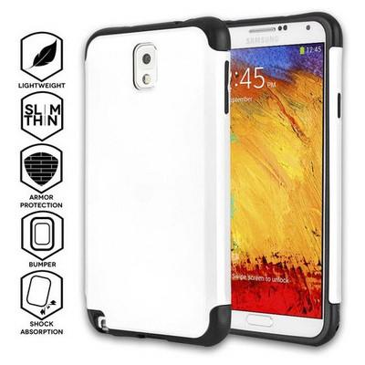Microsonic Slim Fit Dual Layer Armor Samsung Galaxy Note 3 Kılıf Beyaz Cep Telefonu Kılıfı