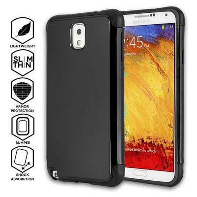 Microsonic Slim Fit Dual Layer Armor Samsung Galaxy Note 3 Kılıf Siyah Cep Telefonu Kılıfı