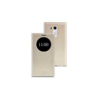 Microsonic View Slim Kapaklı Deri Lg G3 Kılıf Akıllı Modlu Altın Sarı Cep Telefonu Kılıfı
