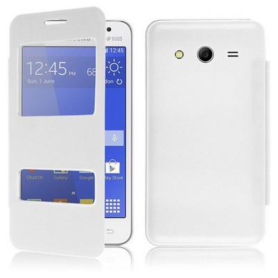 Microsonic Dual View Delux Kapaklı Samsung Galaxy Core 2 Kılıf Beyaz Cep Telefonu Kılıfı