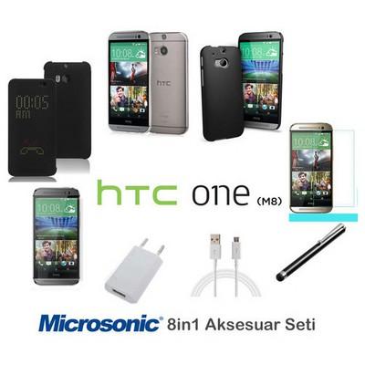 Microsonic Htc One M8 Kılıf & Aksesuar Seti 8in1 Cep Telefonu Kılıfı