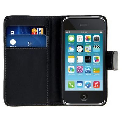 Microsonic Cüzdanlı Deri Iphone 3gs Kılıf Siyah Cep Telefonu Kılıfı