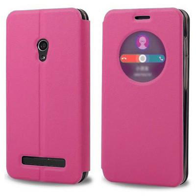 Microsonic View Cover Delux Kapaklı Asus Zenfone 5 Lite Kılıf Akıllı Modlu Pembe Cep Telefonu Kılıfı