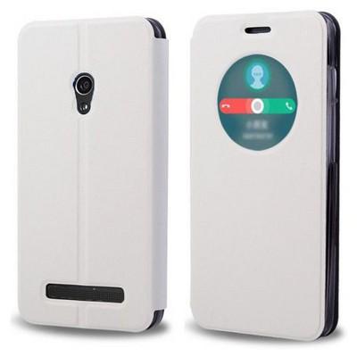 Microsonic View Cover Delux Kapaklı Asus Zenfone 5 Lite Kılıf Akıllı Modlu Beyaz Cep Telefonu Kılıfı