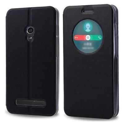 Microsonic View Cover Delux Kapaklı Asus Zenfone 5 Lite Kılıf Akıllı Modlu Siyah Cep Telefonu Kılıfı