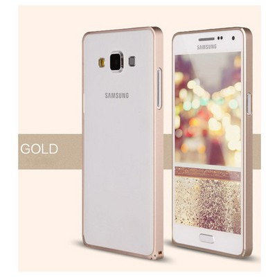 Microsonic Samsung Galaxy A3 Thin Metal Çerçeve Kılıf Sarı Cep Telefonu Kılıfı