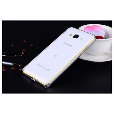 Microsonic Samsung Galaxy Grand Prime Thin Metal Çerçeve Kılıf Gümüş Cep Telefonu Kılıfı