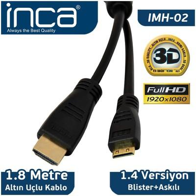 Inca Imh-02 Cab Imh-02 1.8 Mt Mını Hdmı To Hdmı 3d V1.4 Full Hd Altın Uçlu Kablo Ses ve Görüntü Kabloları