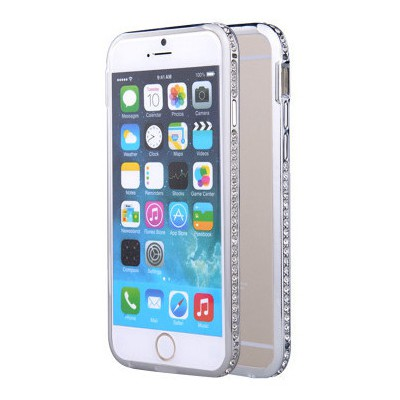 Microsonic Iphone 6 Plus Taşlı Metal Bumper Kılıf Gümüş Cep Telefonu Kılıfı