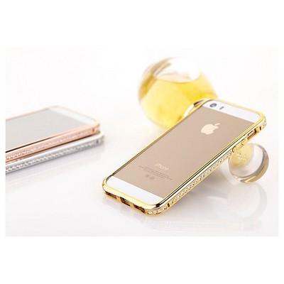 Microsonic Iphone 6 Plus Taşlı Metal Bumper Kılıf Sarı Cep Telefonu Kılıfı