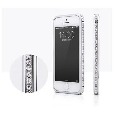 Microsonic Iphone 6 Taşlı Metal Bumper Kılıf Gümüş Cep Telefonu Kılıfı