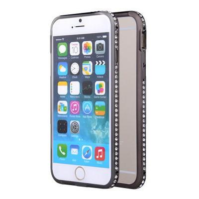 Microsonic Iphone 6 Taşlı Metal Bumper Kılıf Siyah Cep Telefonu Kılıfı