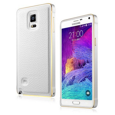 Microsonic Derili Metal Delüx Samsung Galaxy Note 4 Kılıf Beyaz Cep Telefonu Kılıfı