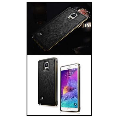 Microsonic Derili Metal Delüx Samsung Galaxy Note 4 Kılıf Siyah Cep Telefonu Kılıfı