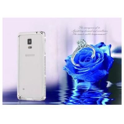 Microsonic Samsung Galaxy Note 4 Taşlı Metal Bumper Kılıf Sarı Cep Telefonu Kılıfı