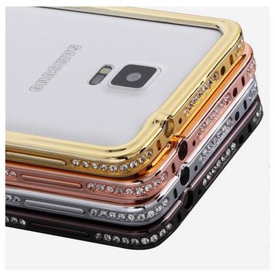 Microsonic Samsung Galaxy Note 4 Taşlı Metal Bumper Kılıf Siyah Cep Telefonu Kılıfı