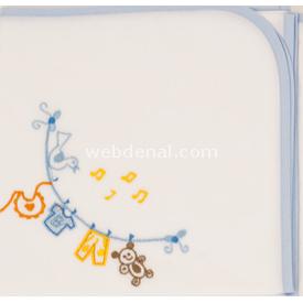 Bahar Bebe 0024 Nakışlı Yarım  Mavi-melodili Kundak