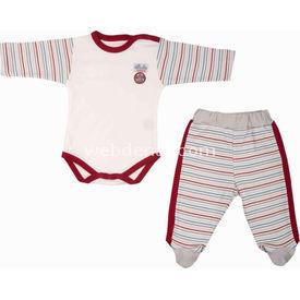 Bebepan 1463 Racing Pantolon Uzun Kollu Bebek Body Takım 9-12 Ay (74-80 Cm) Kız Bebek Body
