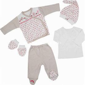 Bebepan 1476 Little S Bebek 5 Li Set 0-3 Ay (56-62 Cm) Kız Bebek Hastane Çıkışı