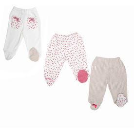 Bebepan 1495 Littles 3lü Patikli Bebek Pantolonu Beyaz-pembe 9-12 Ay (74-80 Cm) Pantolon & Şort