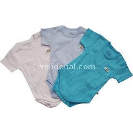 Minidamla Mini Damla 105 3lü Penye Yarım Kollu Bebek Body Beyaz-turkuaz 9-12 Ay (74-80 Cm) Erkek Bebek Body