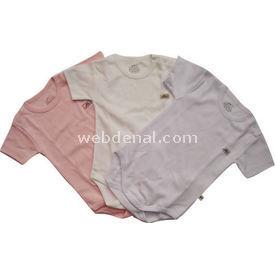 Minidamla Mini Damla 105 3lü Penye Yarım Kollu Bebek Body Beyaz-pembe 3-6 Ay (62-68 Cm) Kız Bebek Body