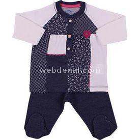 Aziz Bebe 2339 Takım Kız Lacivert-melanj 3-6 Ay (62-68 Cm) Kız Bebek Takım