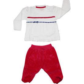 Aziz Bebe 002452 Bebek Ikili Takım Ekru-fuşya 0-3 Ay (56-62 Cm) Kız Bebek Takım