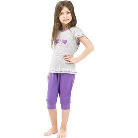 Roly Poly 2467 Kısa Kol Kız Çocuk Pijama Takımı Gri 2 Yaş (92 Cm) Kız Bebek Pijaması