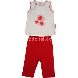 Bebiccino 2960 Bebek Taytlı Takımı Kırmızı 3-6 Ay (62-68 Cm) Kız Bebek Takım