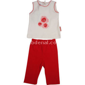 Bebiccino 2960 Bebek Taytlı Takımı Kırmızı 6-9 Ay (68-74 Cm) Kız Bebek Takım