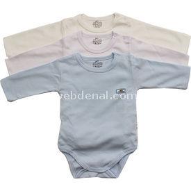 Minidamla Mini Damla 4129 Uzunkol Body 3lü Mavi 9-12 Ay (74-80 Cm) Kız Bebek Body