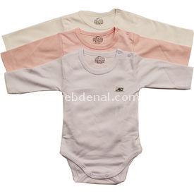 Minidamla Mini Damla 4129 Uzunkol Body 3lü Pembe 6-9 Ay (68-74 Cm) Kız Bebek Body