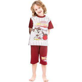 Roly Poly 3023 Tazmanya Lisanslı Erkek Çocuk Pijama Takımı Kırmızı 5 Yaş (110 Cm) Erkek Bebek Pijaması
