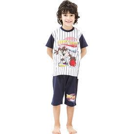 Roly Poly 3023 Tazmanya Lisanslı Erkek Çocuk Pijama Takımı Lacivert 5 Yaş (110 Cm) Erkek Bebek Pijaması