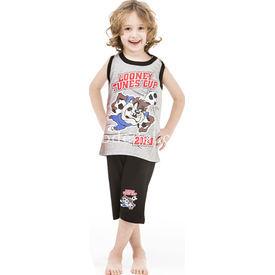 Roly Poly 3024 Tazmanya Lisanslı Erkek Çocuk Pijama Takımı Gri 8 Yaş (128 Cm) Erkek Bebek Pijaması